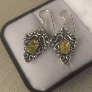 Just in Beautiful artwork silver Citrine Earrings